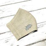 ロウニンアジ刺繍の立体リネンマスク